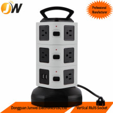 Three Layer Black and White Color Electrical Table Switched Tower Socket