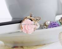 3.5mm Earphone Jack Mobile Phone Charm Rose Flower Anti Dust Plug For iPhone 6 6Plus