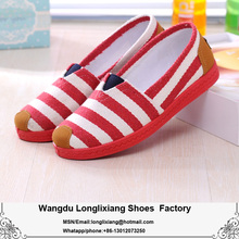 2016 hot sale canvas flat rubber cheap chinese shoes for lady stocks shoes
