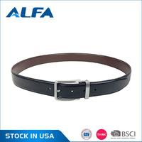 Alfa China Products Custom Logo 35MM Black Men Leather Belt Strap