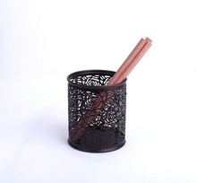 B8802R high quality office and school supplies desk organizer metal mesh carved round pencil pot
