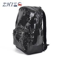 2015 New arrival glitter black promotional wholesale sequin backpack for lady