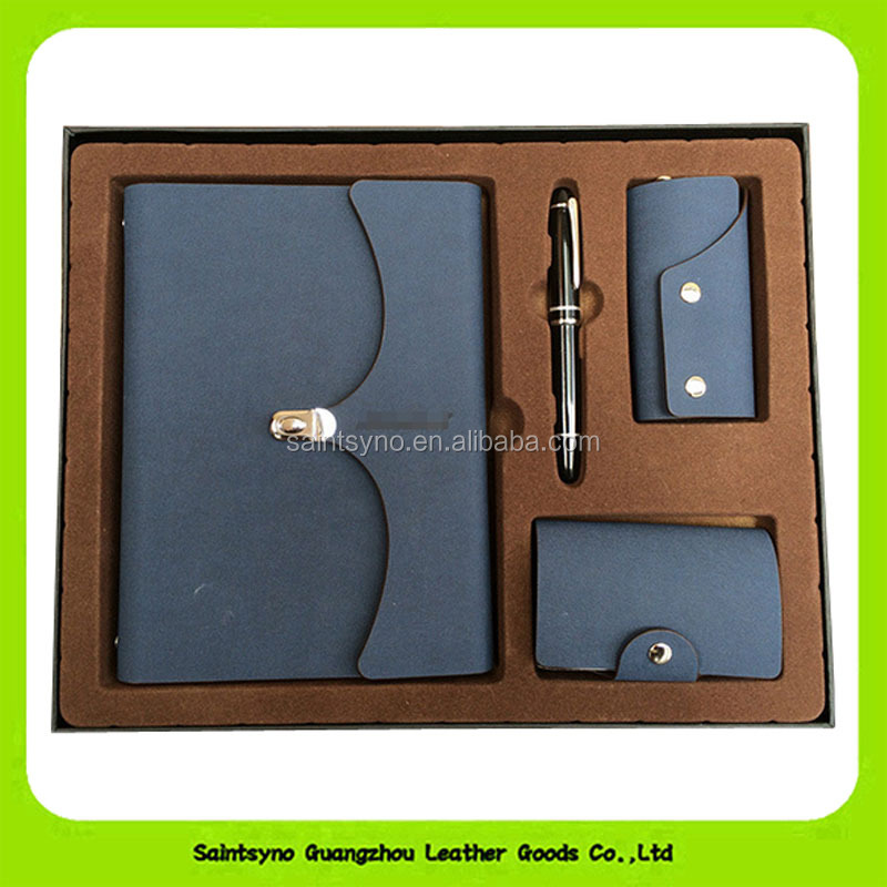16028 Promotional gift 2016 leather business gift set