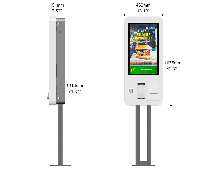 Self Service POS Solutions 27 Inch Capacitive Touch Self Ordering Kiosk For Restaurants