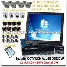 8 CH Security CCTV System 8CH H.264 DVR + 10.5 inch LCD Monitor + 8X IR Nightvision Cameras Indoor/Outdoor