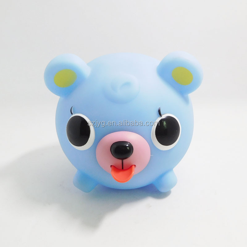 Cute Mini Plastic Bear Shaped Rattle Toys for Releasing Stress Squeeze Toy with Tongue