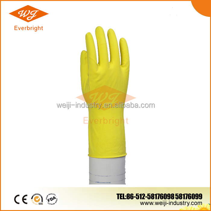 Latex Gloves Household Cotton Spraying , Spray cotton lined Latex Gloves Household