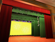 Motorized fire resistant theater drapes used stage curtains
