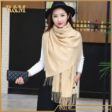 70*200cm solid color cheap thick charmeuse feeling shawl cashmere scarf