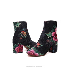 Wholesale Block Heel Suede Floral Embroidery Woman Ankle Boots