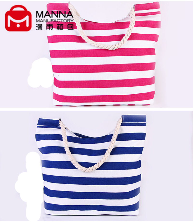 Fashion stripe canvas beach bag promotion cotton beach bag
