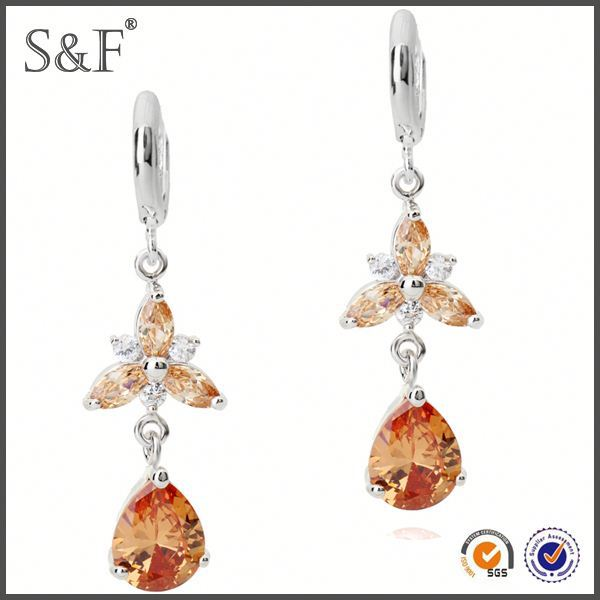 Latest Design Popular Zircon flag earrings