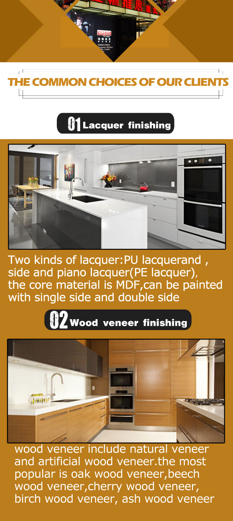 Swing walnut wood veneer cabinet door