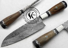 "11.00"" Custom Made Beautiful Damascus Steel Chef Kitchen Knife (AA-0198-7)"