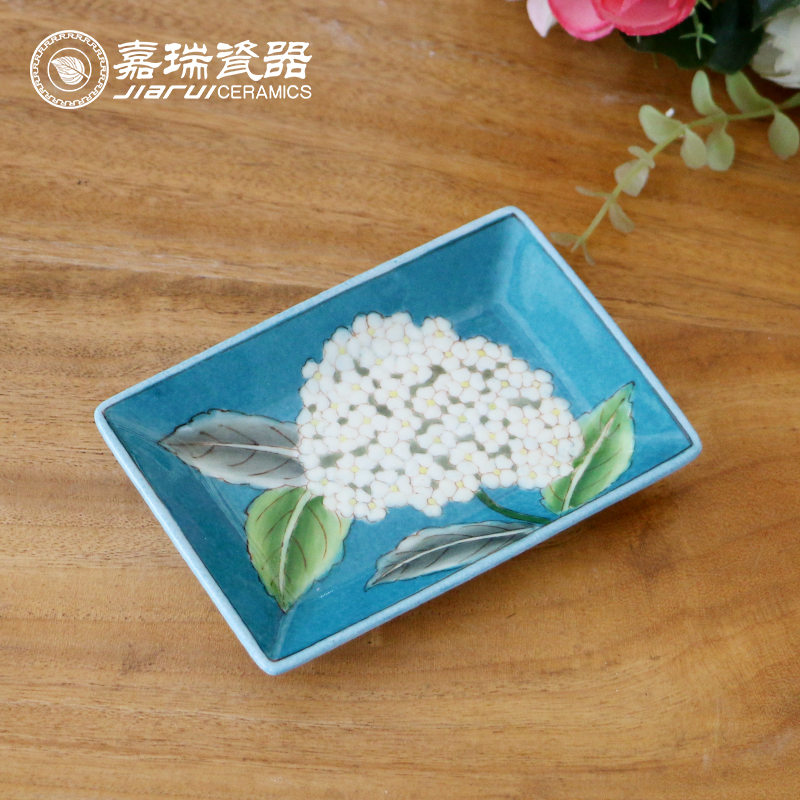 Chinese Hand Paint Porcelain Ceramic Fruit Plate for Home Hotel Restaurant Decoration Wedding Return Gift Artwork