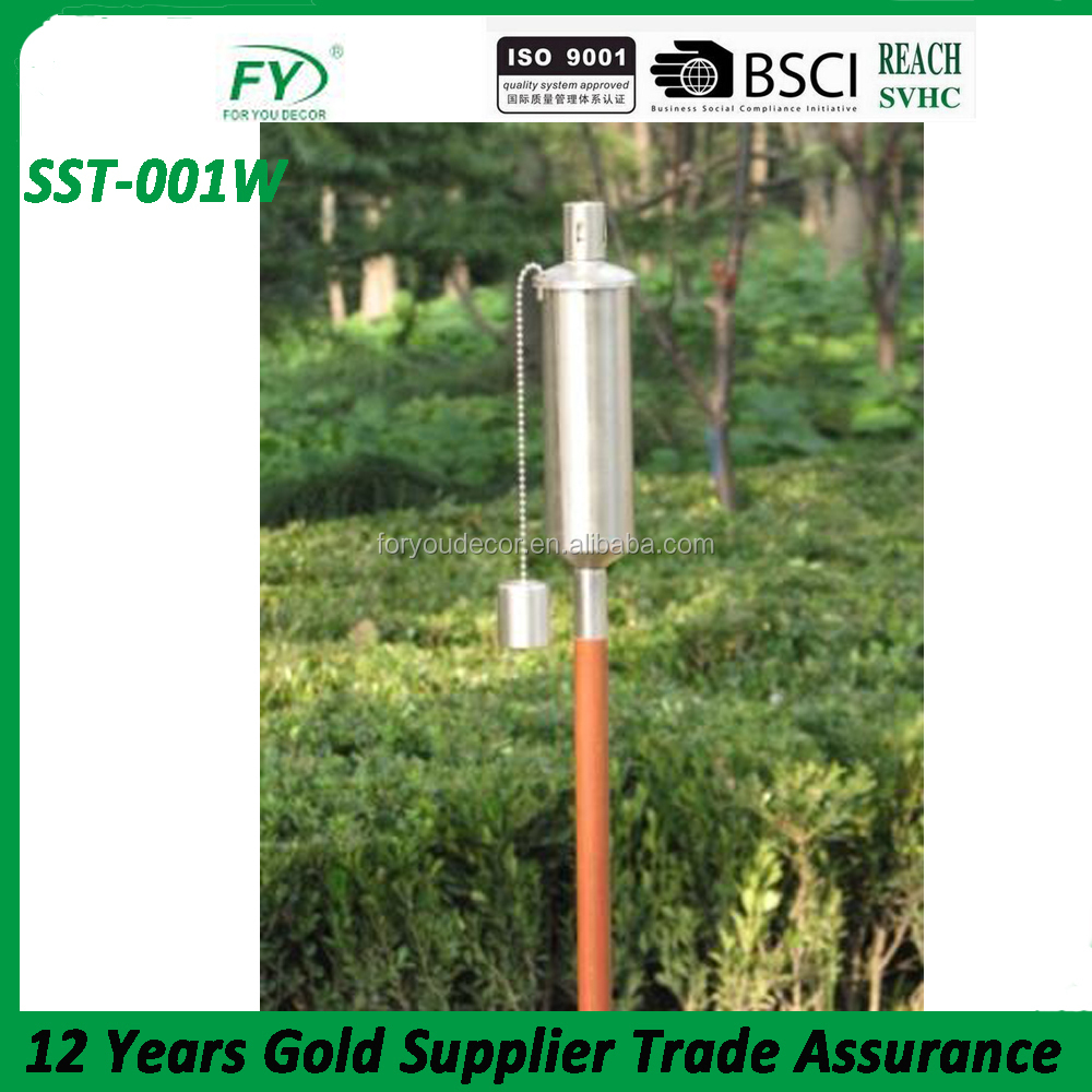 Stainless steel garden torch with bamboo compressed pole Dia2cm.SST-001W
