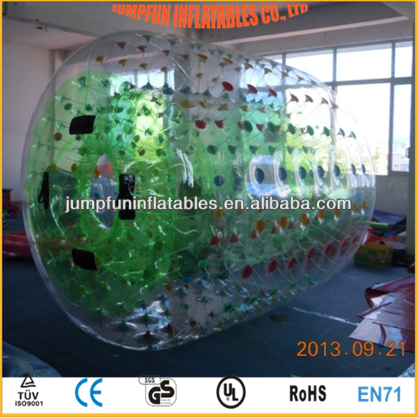 Green colorful water walking balloon best price inflatable PVC roller on water