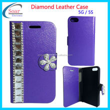 Luxury Glitter Bling Wallet Metal Flip Rhinestone leather flip case For iPhone 5 5S