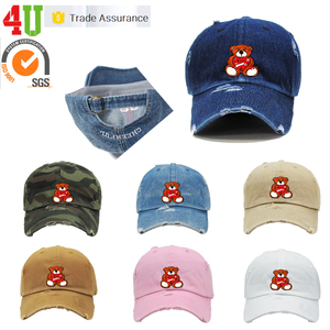 100% cotton Wholesale 6 Panel Unstructured Embroidered Distressed Custom Dad Hat Manufacturer