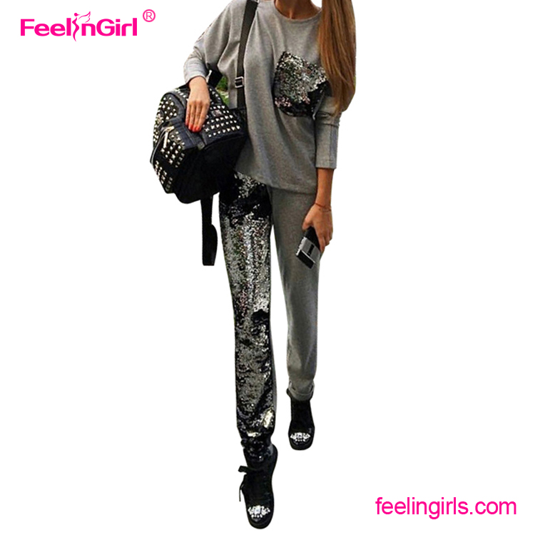 Fashion Grey Sequins Winter Wholesale 100% Cotton Womens Sweat Suits