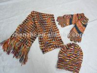 2014 100% acrylic knitted hat scarf set