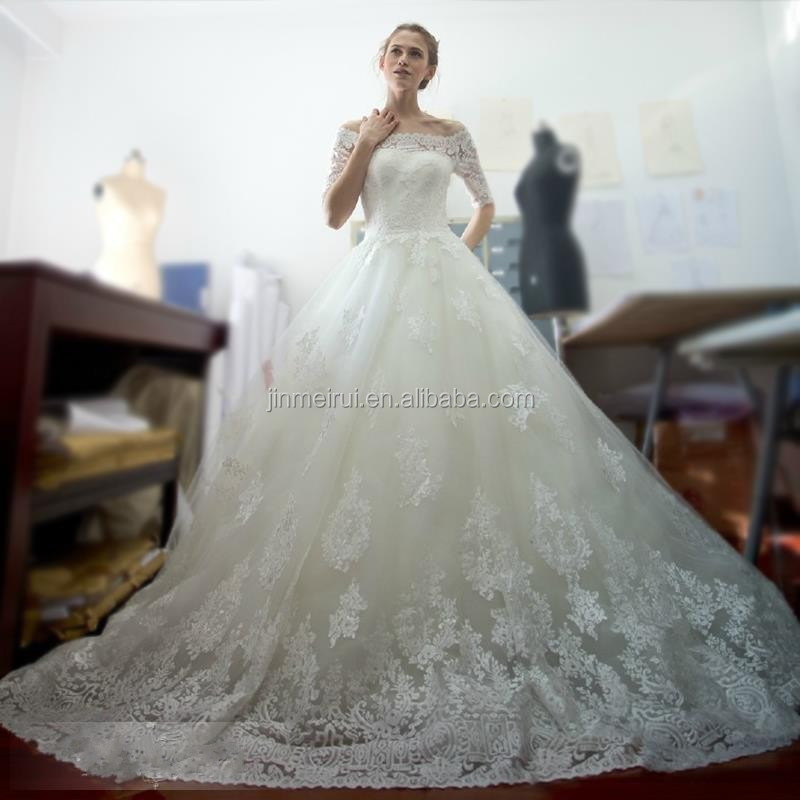 charming 2016 white boat neck ball gown wedding dress elegant lace appliques 1/2 sleeves bridal gowns