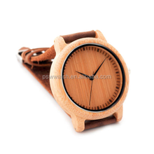 Hot selling products leather bracelet men bamboo wooden watch 2017