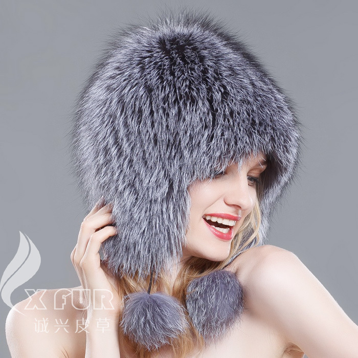 CX-<strong>C</strong>-<strong>114</strong> New Product Women Hat Genuine Fox Fur Knitted Winter Cap