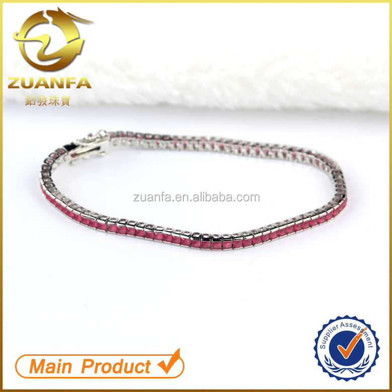 princess cut gemstone ruby glass stone wholesale 925 sterling silver tennis bracelet for women