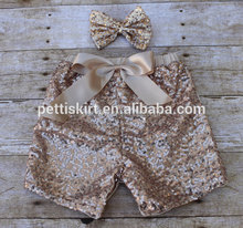 Fashion Newborn Baby Clothes Kids Girls Gold Sequin Matching Shorts With Bow Children Leggings