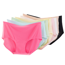 Hot Sell Pure Color Cotton Middle Waist Breathable Women Sexy <strong>Underwear</strong>