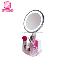 Brightness adjustable Makeup Mirror with LED and organizer