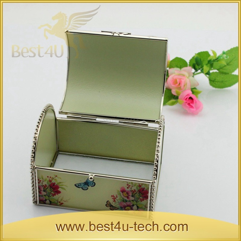 Factory Price Antique Glass Trinket Box Travel Size Jewelry Box