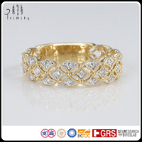 2016 Hot Daily Wear Vintage Design Yellow Gold Real Diamond Ring 14 18 Karat Gold Jewelry Wholesale Price
