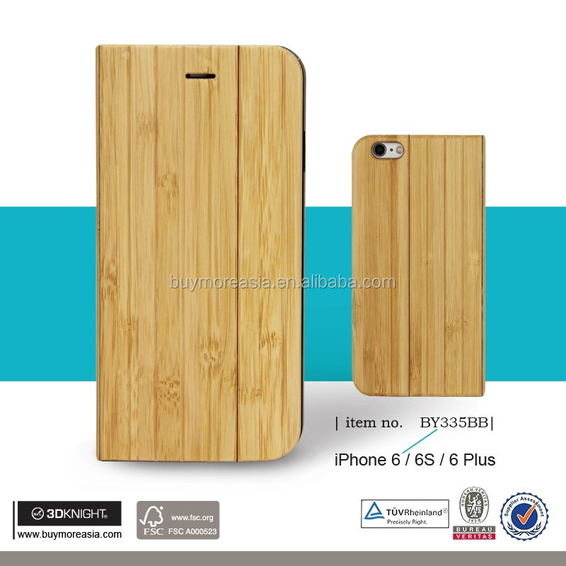 High Quality Wallet Wood Mobile Phone for iPhone 6 Case, Luxury Wallet Flip Wooden Stand Phone Cover for iPhone Case Wood