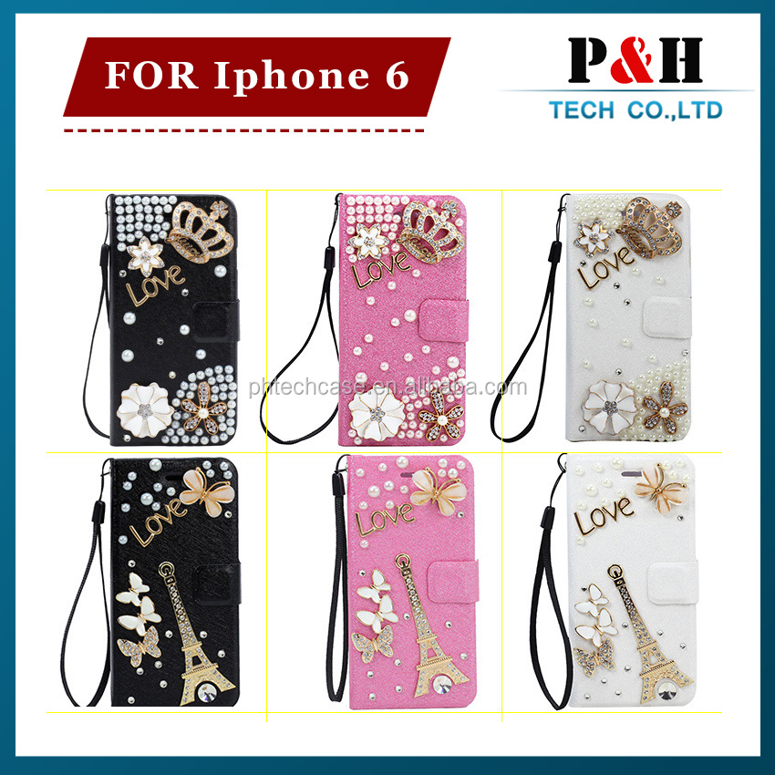 For iphone 6 wallet diamond leather case,Diamond For iPhone 6 Leather Case ,Luxury Mobile Phone Case With Diamond For Iphone6