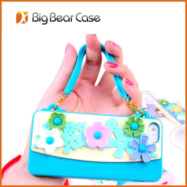 Handbag cute silicone case for iphone5