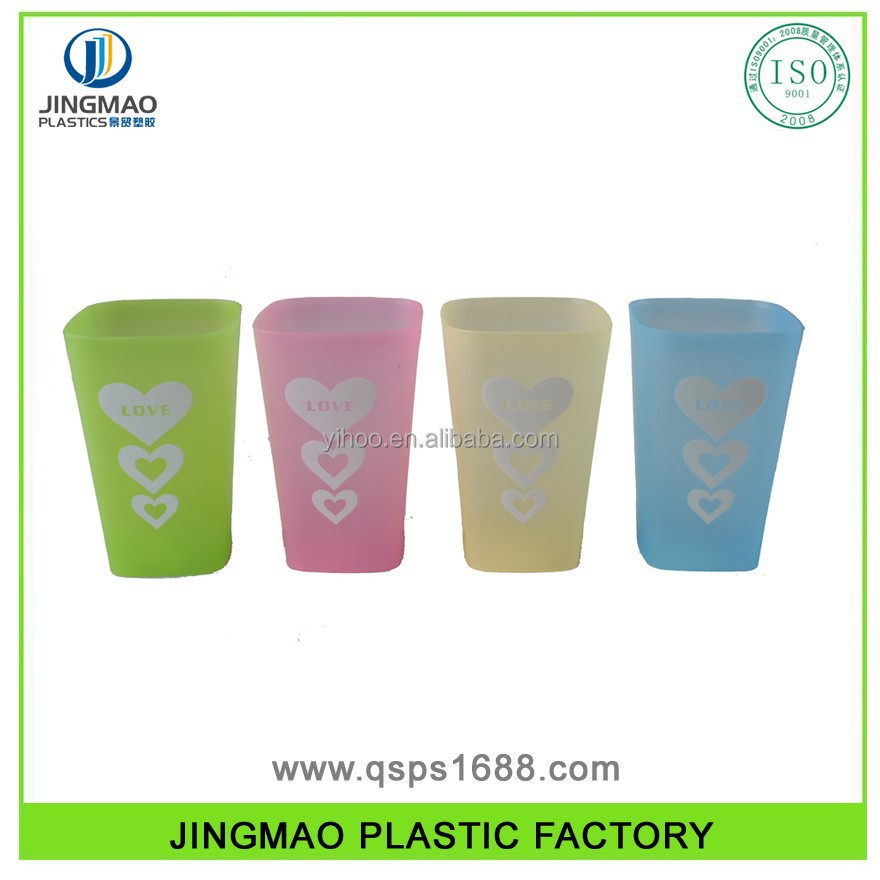 Plastic Water Drinking Cup with Heart Shape imprint