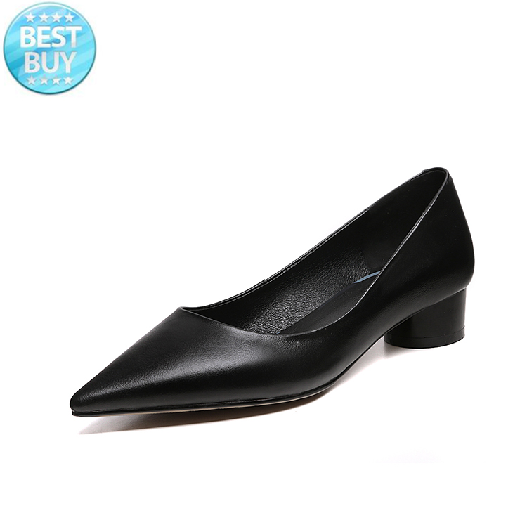 genuine leather chunky heels pointed toe black office ladies works women's shoes