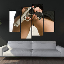 Canvas Paintings Wall Art Picture 4 Panels Canvas Photo Prints Sexy Woman Holding A Pistol Wall Decorations Paintings no frame