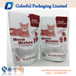 Custom ziplock pouch food packaging resealable stand up cat/ dog treat bag