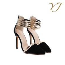 Factory Wholesale cheap heels and pumps ladies very high heels black