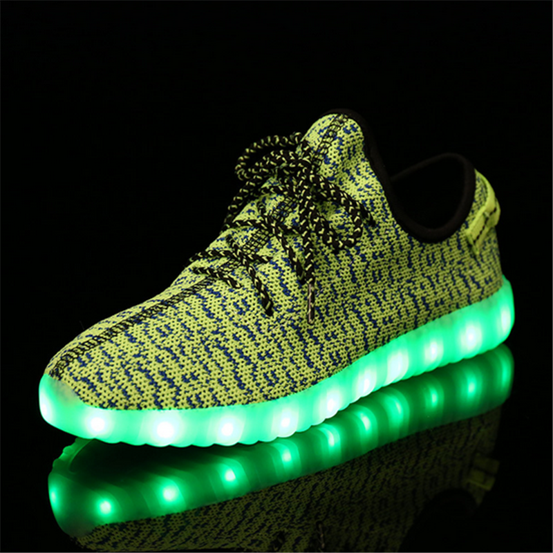 Factory wholesale OEM USB charge Children kids Led shoes sneakers Cool casual shoes for boys girls,led light kids yezzy shoes