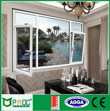 Wooden Color Aluminium Frame Tempered Safety Glass Casement Window With Grill Design