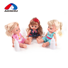 10 inch girl electronic vinyl mini baby dolls with milk bottles