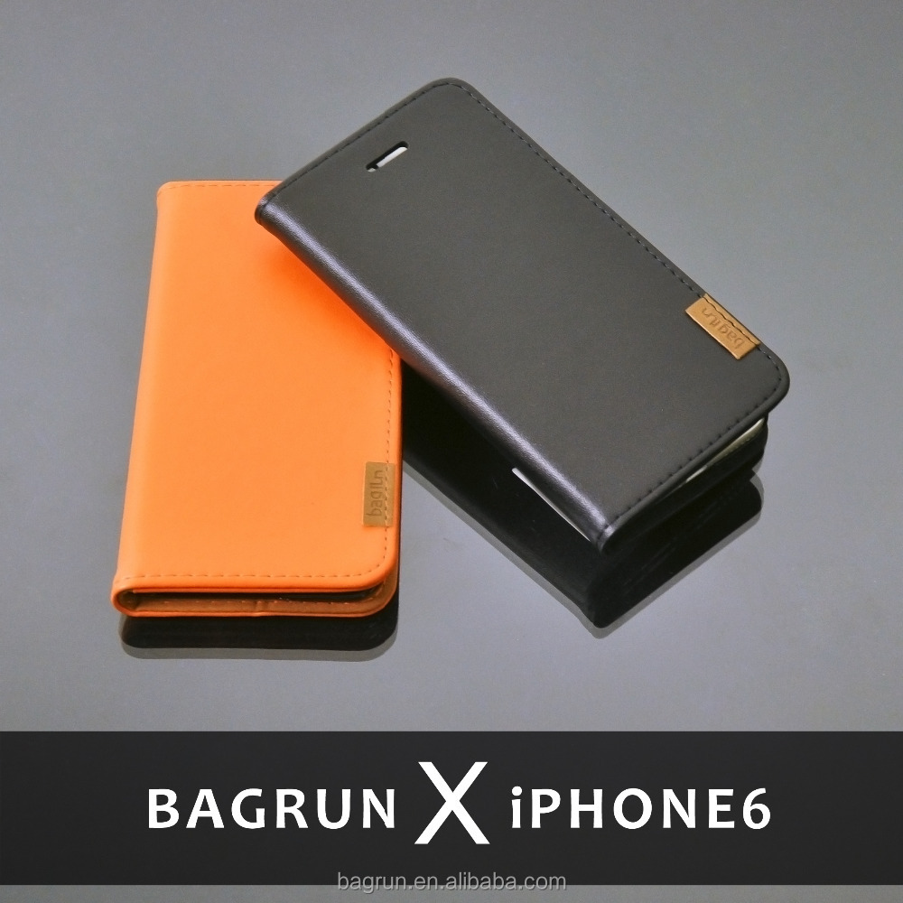 Bagrun Design Genuine Leather Phone Case for iPhone 6s with Stand Function Case