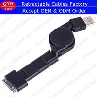 Mini micro usb 3 in 1 usb data cable retractable for mobile phone