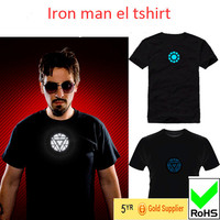 Flashing and attractive beautiful EL T-shirt/colorful flashing EL T-shirt/music flashing EL t-shirt