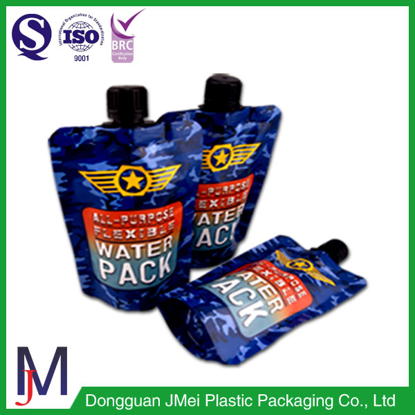 Standup pouch packaging bag with spout used for packing liquid , fluid , beverage , beer or shampoo