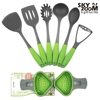 Super good first class knifes set kitchen tools with bright green handle
